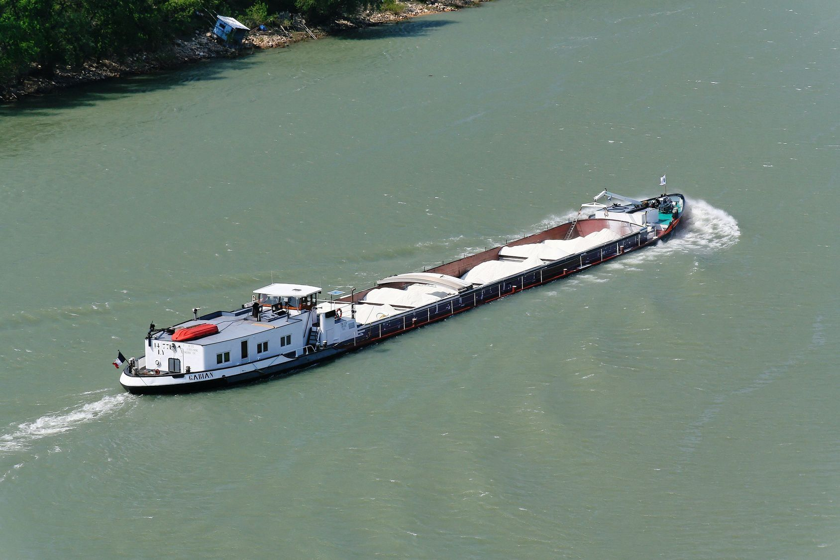 An aerial view of a cargo ship